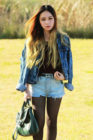 denim jacket Choies jacket - brick red tardy Jeffrey Campbell boots