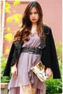 Light-purple-love-dress-mimco-bag-dark-gray-zara-belt