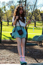Turquoise-blue-no-brand-shoes-beige-neck-scarf-dark-brown-camera-bag-light