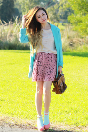 pink ianywear skirt - aquamarine Esties Closet blazer - vintage bag