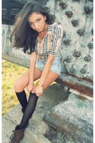 black tezenis socks - dark brown stone creek boots - sky blue Zara jeans