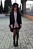 black hm shoes - black Mango blazer - dark khaki Zara bag - light pink Oysho blo