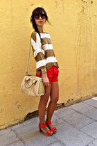 red Zara shorts - bronze Zara sweater - cream Zara bag - red Zara sandals