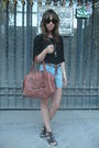 Black-zara-t-shirt-blue-oysho-shorts-black-shoes-brown-zara-accessories-