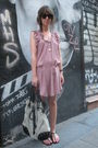 Pink-oysho-dress-pink-oysho-necklace-black-shoes-beige-zara-accessories-