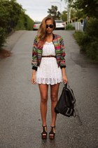 red colorful jacket - green nice jacket - white lace dress - black chic sandals
