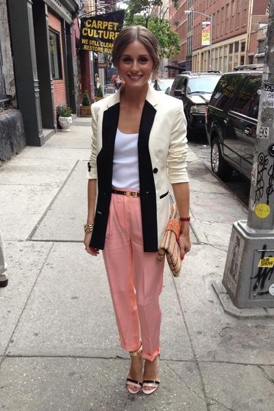 white blazer - salmon pants