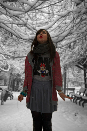 H&amp;M scarf - local brand boots - Disney t-shirt - H&amp;M skirt - Mango bracelet