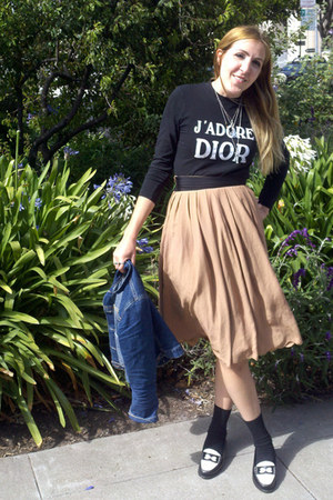 neutral skirt - black dior top - black loafers