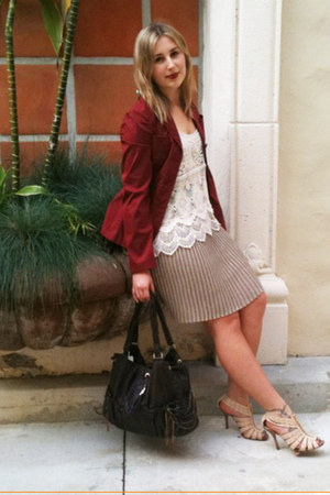 off white Zara top - maroon Prada jacket - camel Missoni skirt