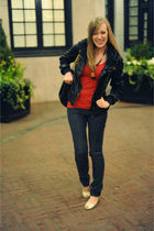 red Urban Outfitters shirt - gold Steve Madden shoes - black linea pelle purse