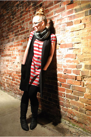 black H&M vest - red Target dress - black Aldo boots - gold Urban Outfitters acc