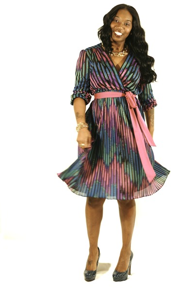 magenta stripes thrifted vintage dress - teal alligator print BCBG heels