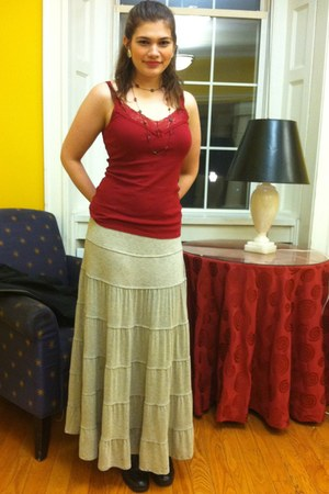 heather gray maxi skirt Maxx Studio skirt - black lace-up boots - ivory earrings