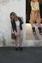 Zara shorts - - blazer - top - go jane shoes - DIY necklace