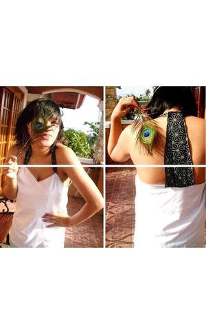 DIY love shirt - peacock feather accessories - headband accessories - board shor