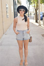 Satchel-thrifted-purse-urban-outfitters-shorts