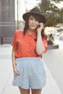 Fedora-hat-charlotte-russe-hat-chambray-shorts-zara-shorts