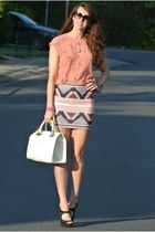 aztec Zara skirt - liu jo bag - D&G sunglasses - zebra Zara blouse