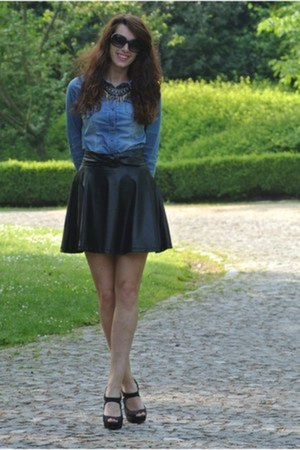 denim Only shirt - leather looking c&a skirt