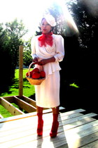 white white vintage dress - red flea market scarf - red socks