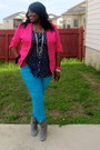 Turquoise-blue-skinny-forever-21-jeans-hot-pink-metrostyle-blazer