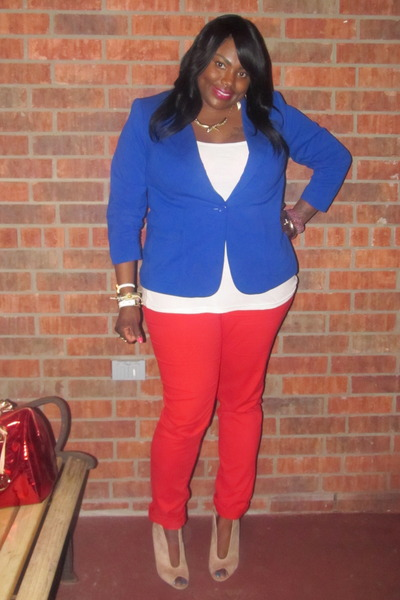 blue Eloquii blazer - red New York & Company jeans - Michael Kors bag