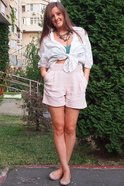 Stradivarius top - Mango shirt - DKNY bag - Zara shorts - Mango necklace