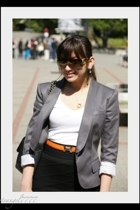 Burberry blazer - banana republic shirt - forever 21 skirt - Hermes belt - Chane