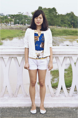 white Cute Granny Vintage blazer - white DIY shorts - blue Lavilyn top