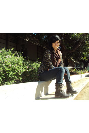 Call it Spring boots - blue jeans unknown brand jeans - Forever21 scarf