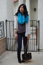 turquoise blue Target scarf - navy chain thrifted bag - navy chino H&M pants