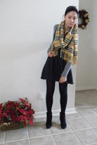 gray dress - gray sweater - Burberry scarf - boots