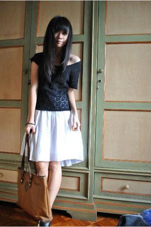 black shirt - white dress - black one two shoes - brown