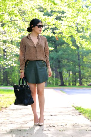 Zara skirt - vintage shirt - bag - heels
