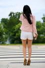 Escada-jacket-h-m-bag-zara-shorts-zara-t-shirt-tony-bianco-heels