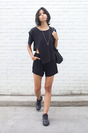 black fawn linen ss15 cyeoms shorts - black cyeoms top