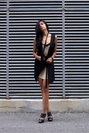 black 3in1 vest dress melissa araujo vest - tan silk slip wilfred dress