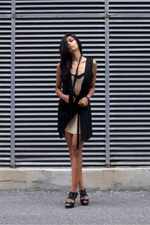 black 3in1 vest dress melissa araujo vest - tan silk slip wilfred dress