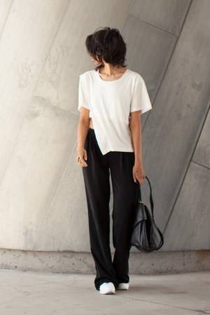 white studio crop cyeoms top - black palazzo Zara pants