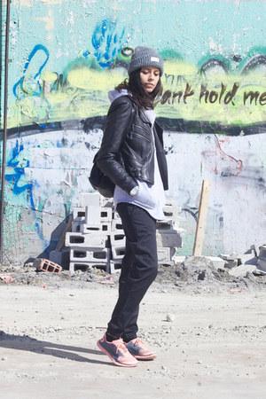 black baseball pants muttonhead pants - black leather Bebe jacket
