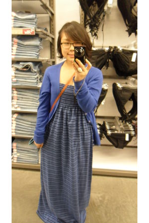 blue Old Navy dress - blue American Apparel cardigan - white Forever 21 accessor