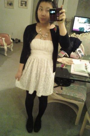 black Nordstrom cardigan - white Forever 21 dress - black Simply Very Wang stock