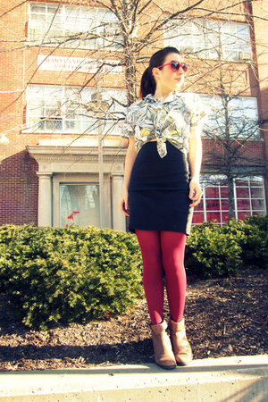 green vintage blouse - brown Urban Outfitters boots - red vintage tights