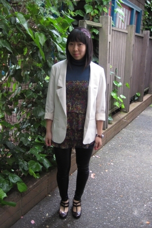 H&amp;M blazer - leggings - restricted shoes - forever 21 blouse - forever 21 access