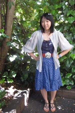 H&M blouse - sam & max skirt - H&M shirt - vintage belt - Aldo shoes