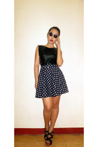 black skater skirt - black made by me top