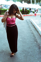 black maxi Forever 21 skirt - maroon bustier intimate