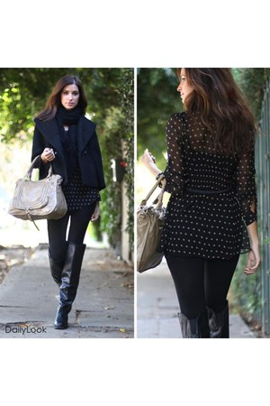 black boucle coat Dailylook jacket - black Bamboo boots - tan Dailylook purse