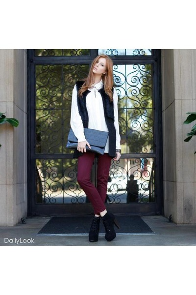 black Dailylook shoes - ruby red Dailylook jeans - white Dailylook top